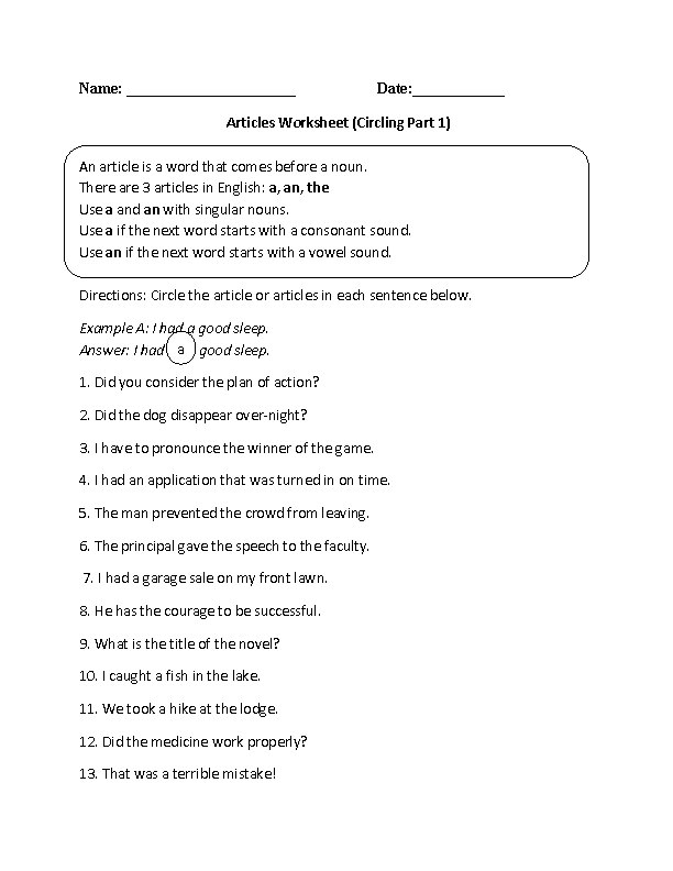 Circling Articles Worksheet