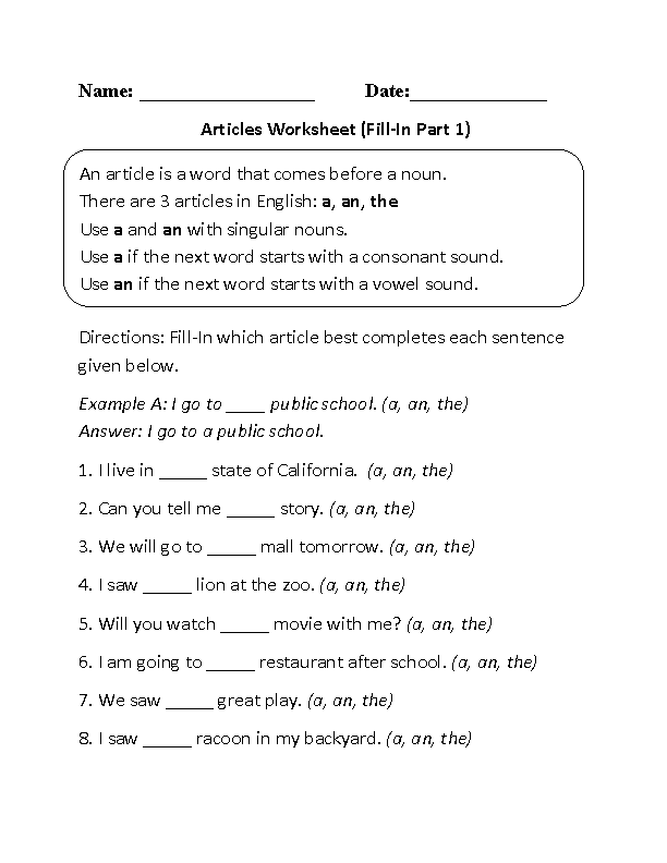 Fill-In Articles Worksheet Part 1