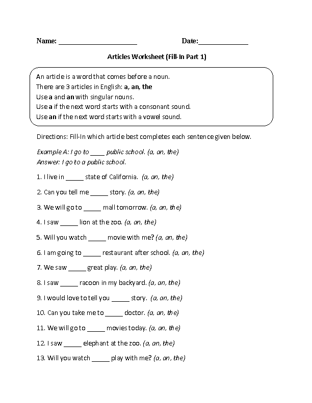 Fill-In Articles Worksheet
