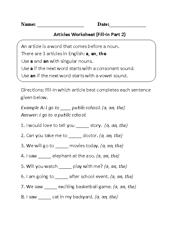 Fill-In Articles Worksheet Part 2