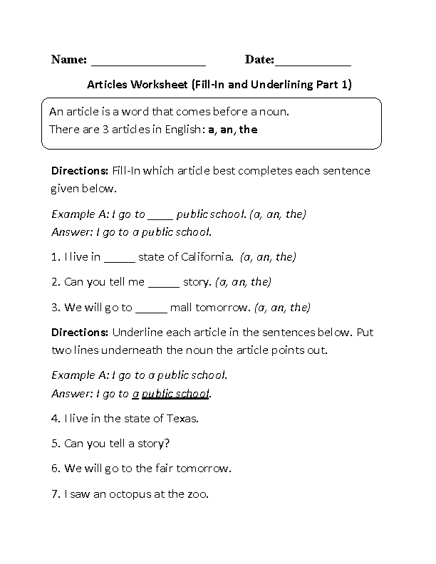 Fill-In and Underlining Article Worksheet