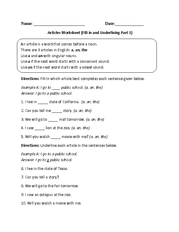 Fill-In and Underlining Articles Worksheet