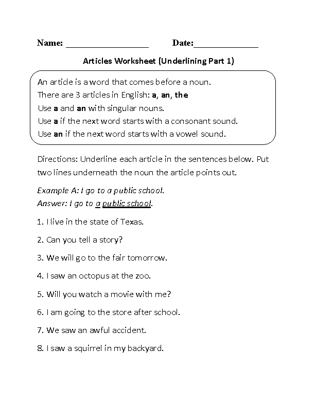 Articles Worksheets