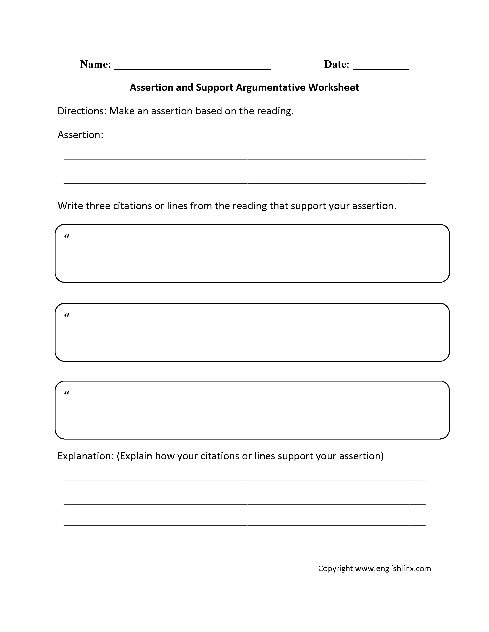 Argumentative essay worksheet