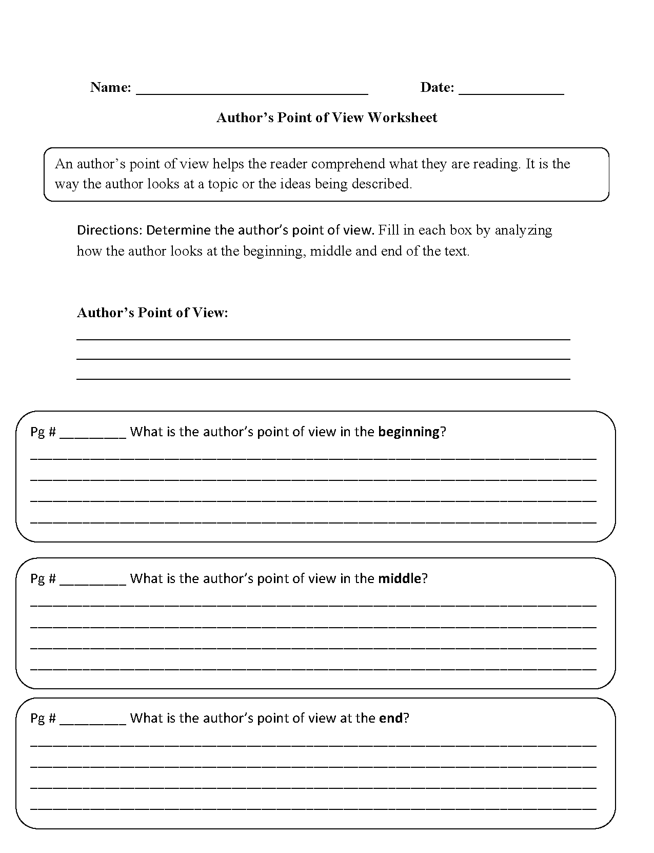 worksheet Authors Purpose Worksheet point of view worksheets authors worksheets