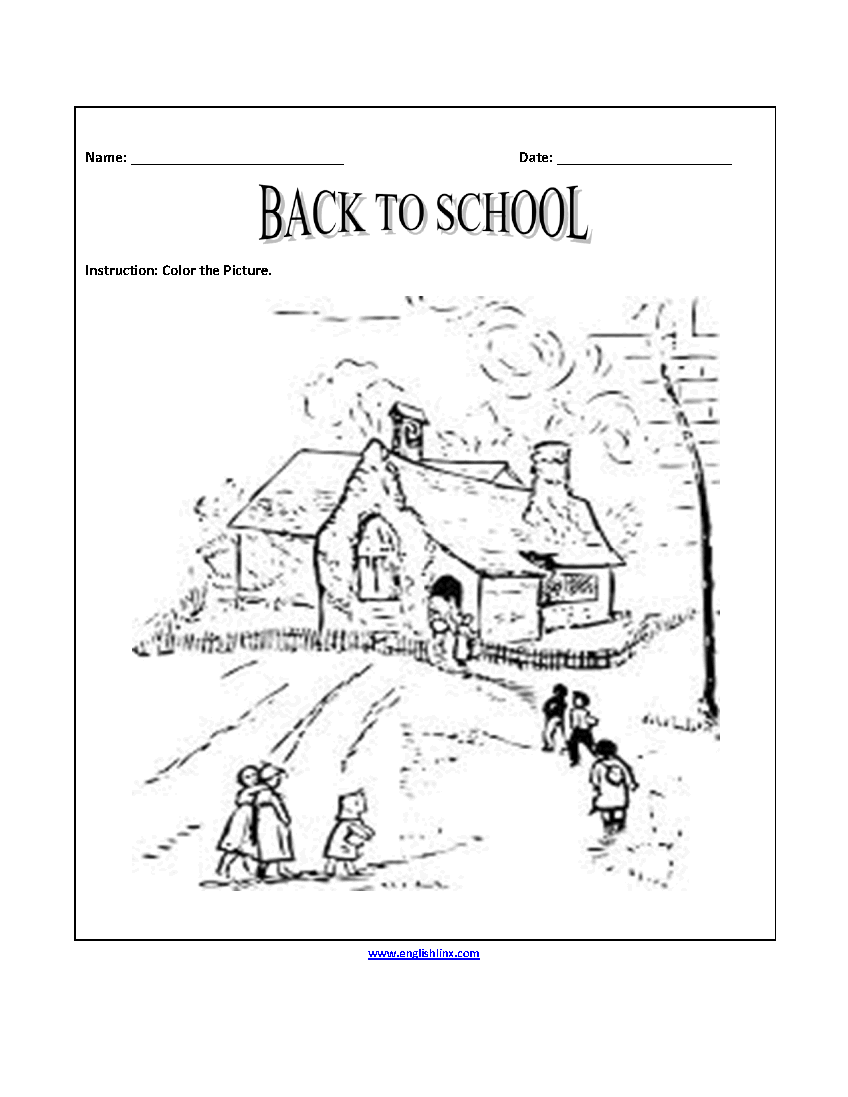 Back to School Worksheets | Back to School Coloring Page Worksheets