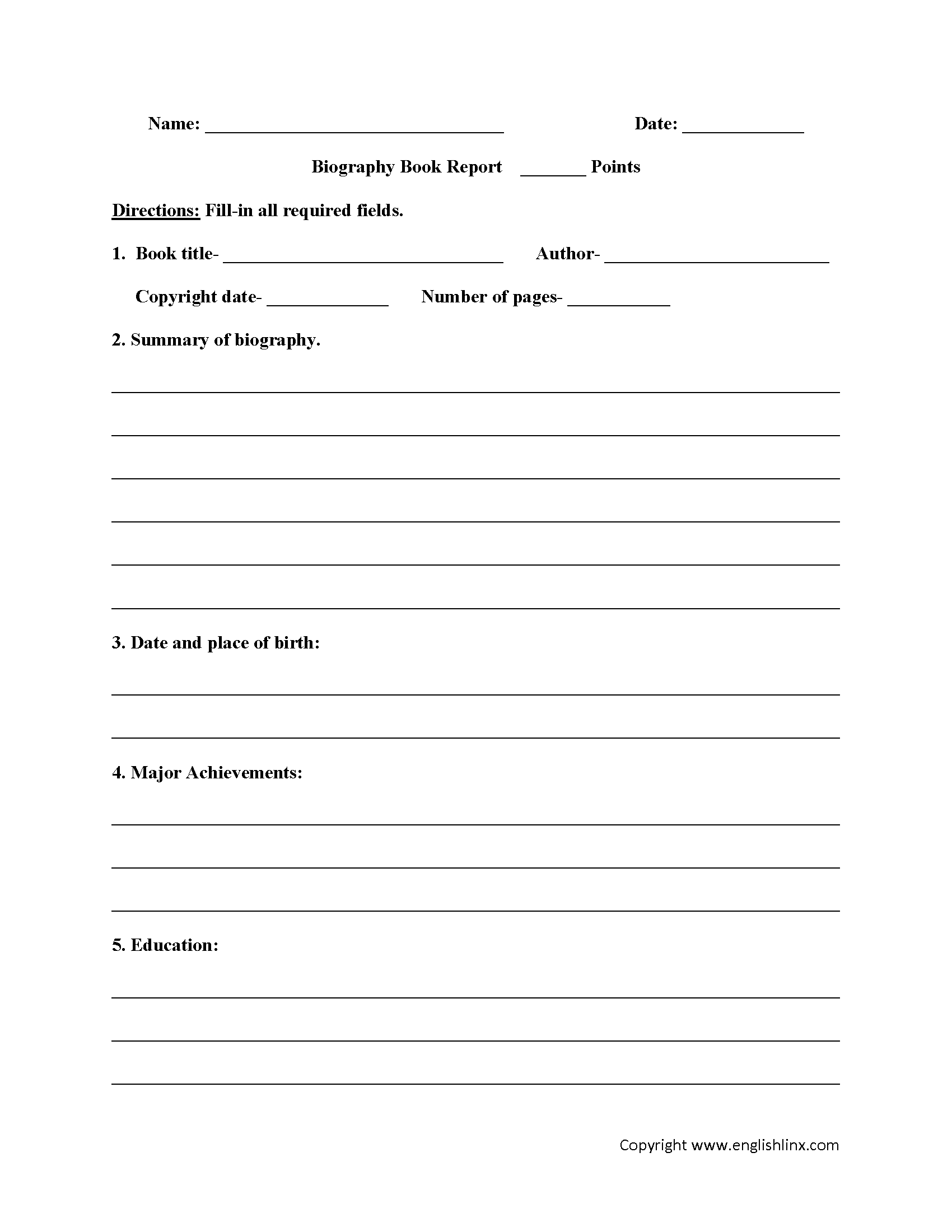 Worksheets 10th Grade Printable Worksheets englishlinx com book report worksheets worksheets