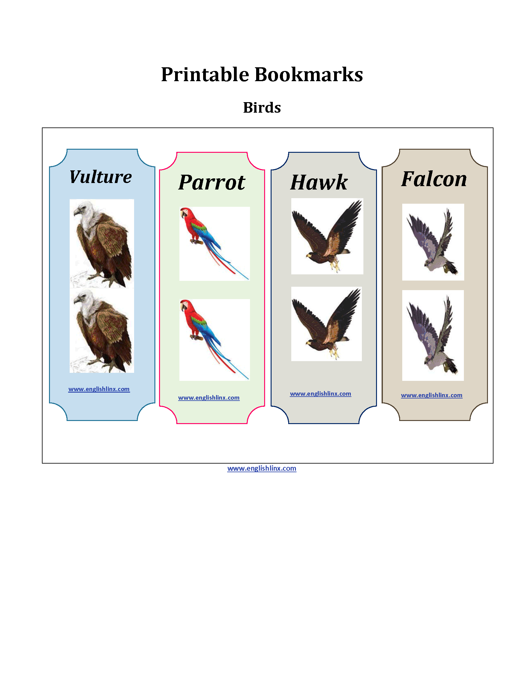 Birds Printable Bookmarks Worksheets