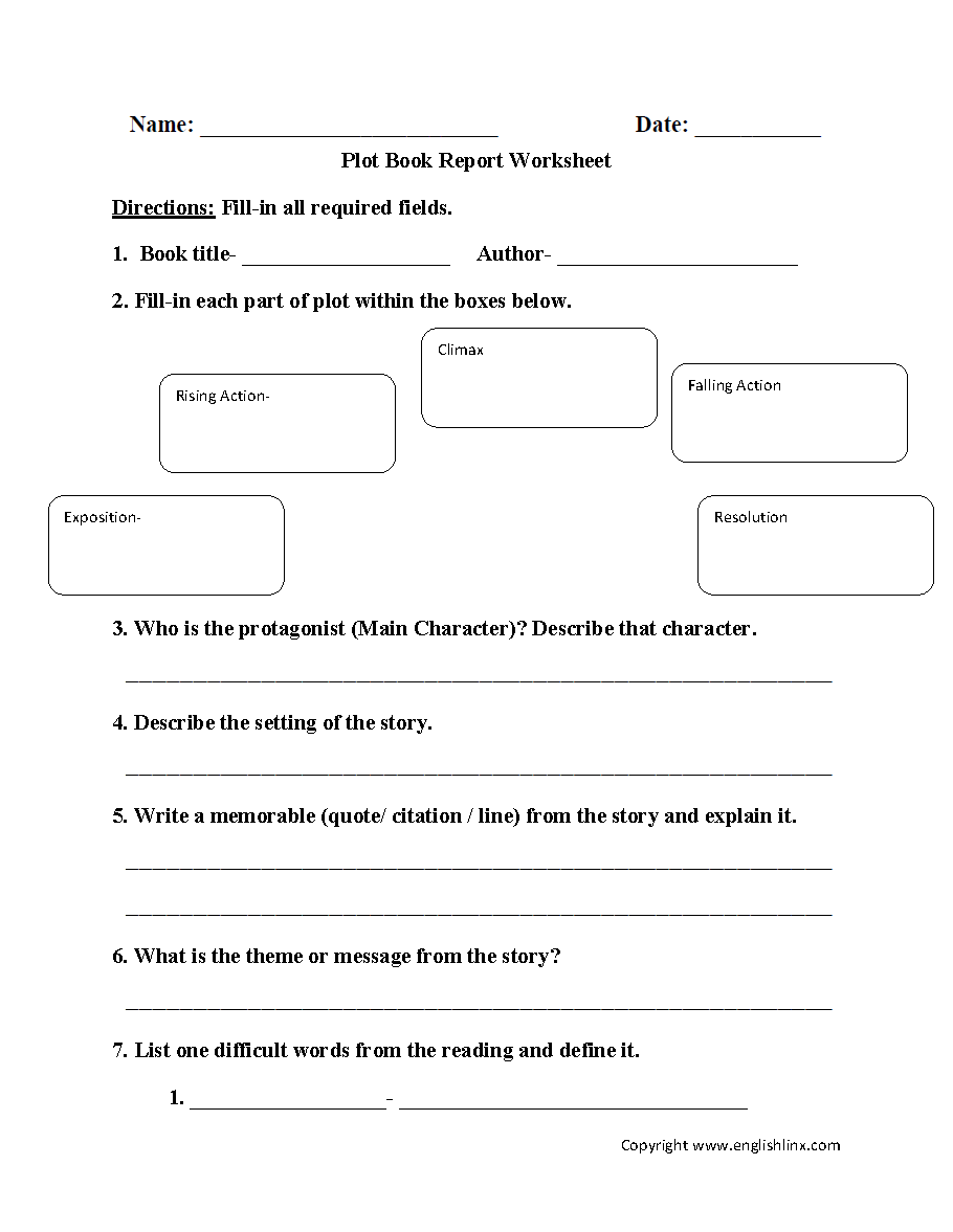 Character And Setting Worksheets Esl : Reading worksheets plot