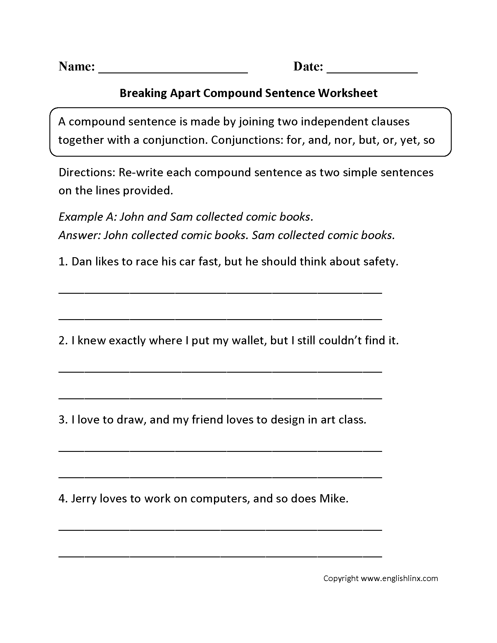 Breaking Apart Compound Sentence Worksheet
