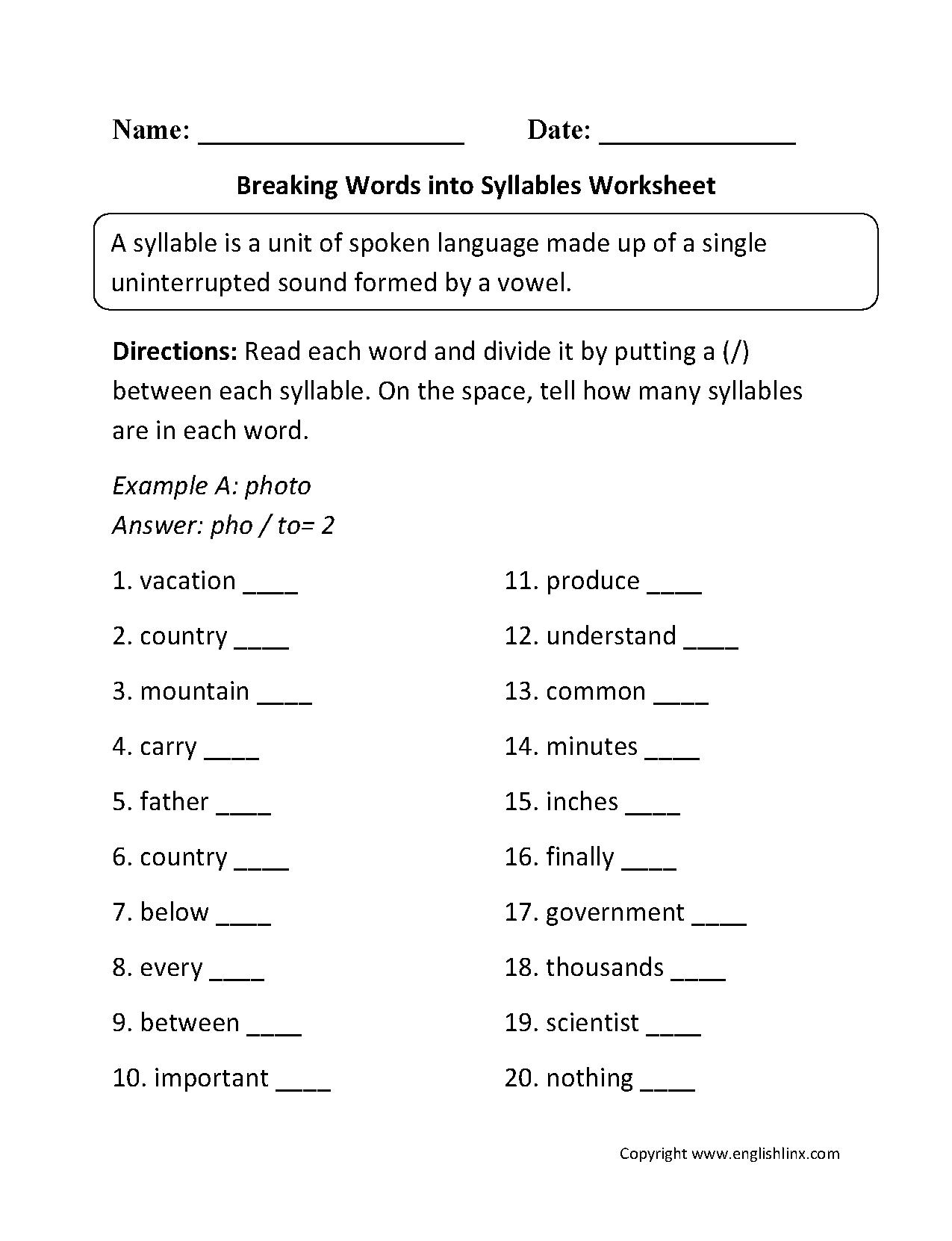 Englishlinx Com Syllables Worksheets