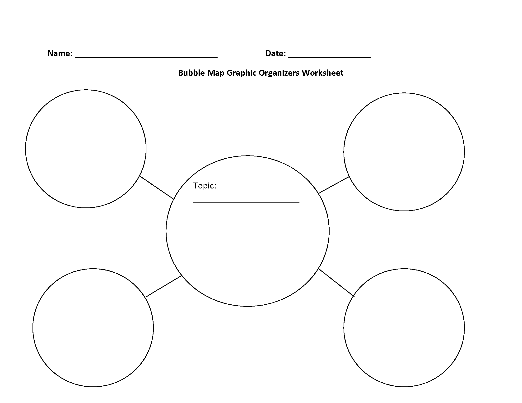 Bubble Map Graphic Organizers Worksheets