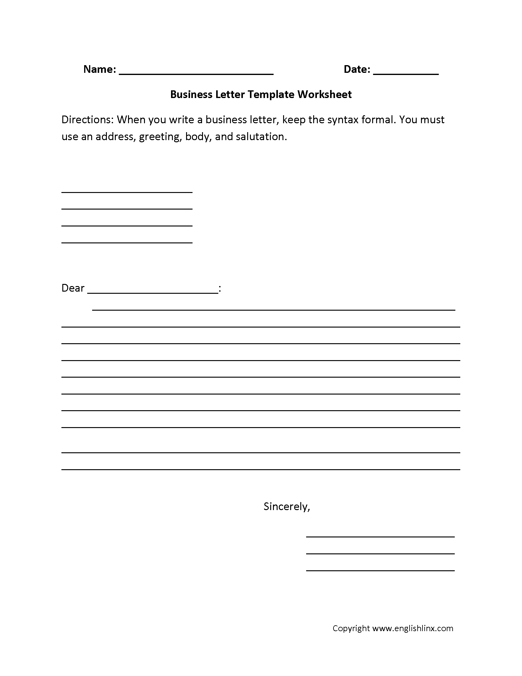 Sample Letter 5th Grade. Business Letter Writing Worksheets