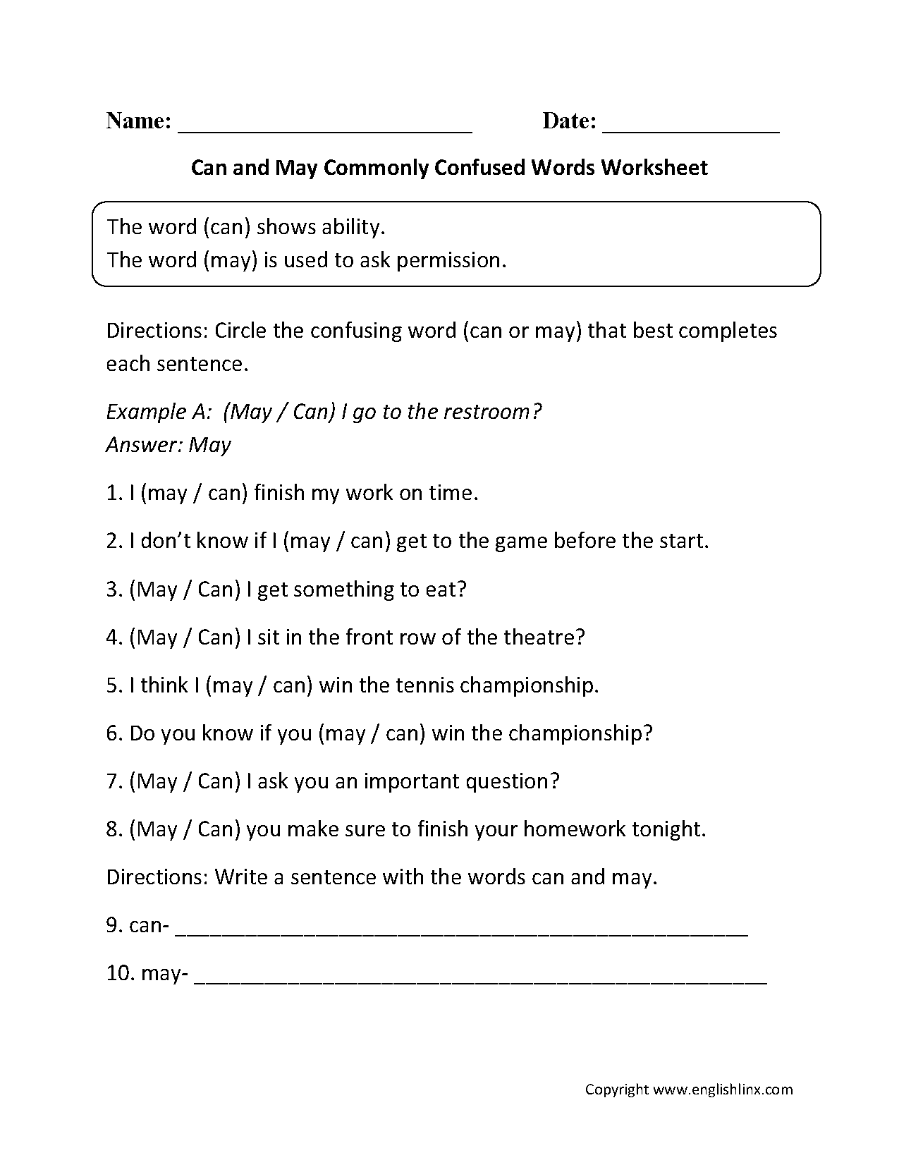 ... Words Worksheets | Can and May Commonly Confused Words Worksheets