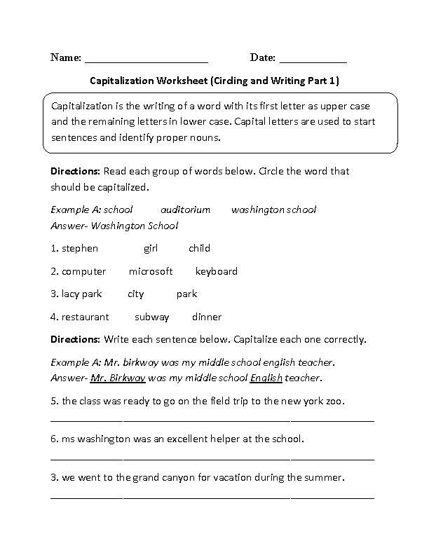 Writing Sentences with Capitalization Worksheet