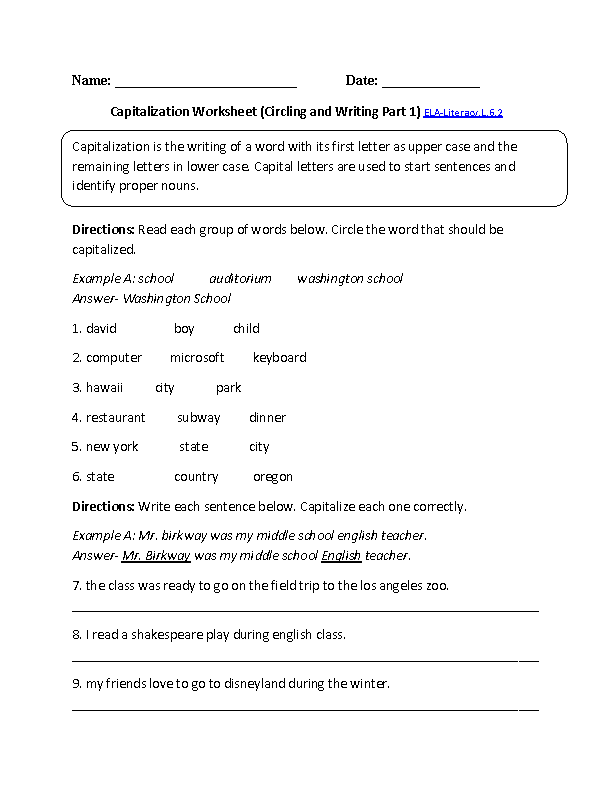 Worksheets Grade 6 English Worksheets 6th grade common core language worksheets capitalization worksheet 2 ela literacy l 6 worksheet
