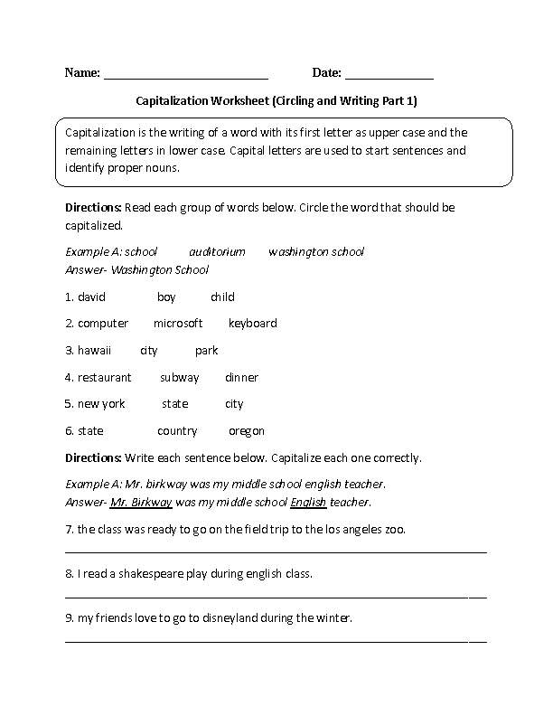 Learning Capitalization Worksheet