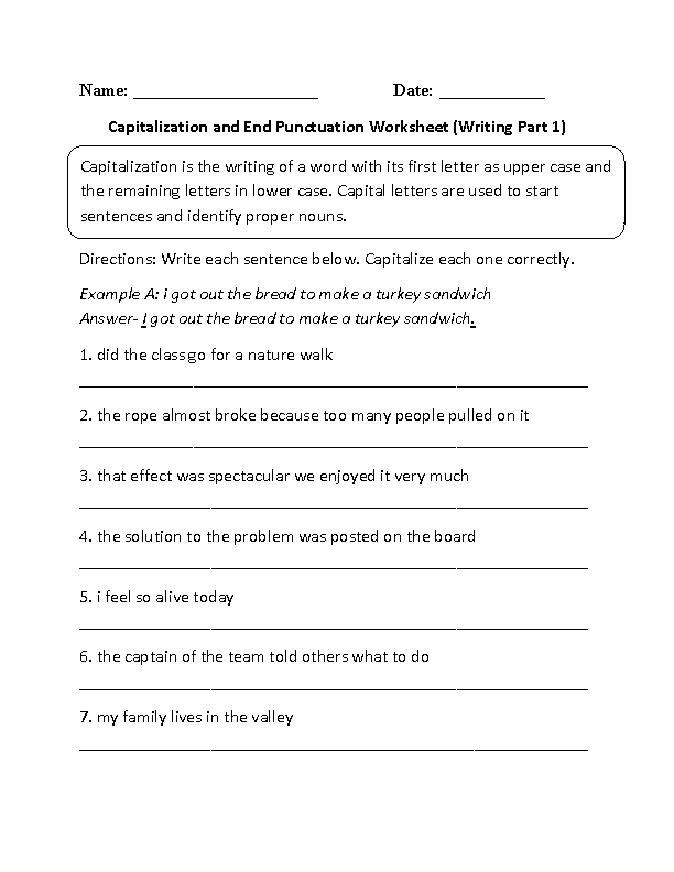 Capitalization and End Punctuation Worksheet