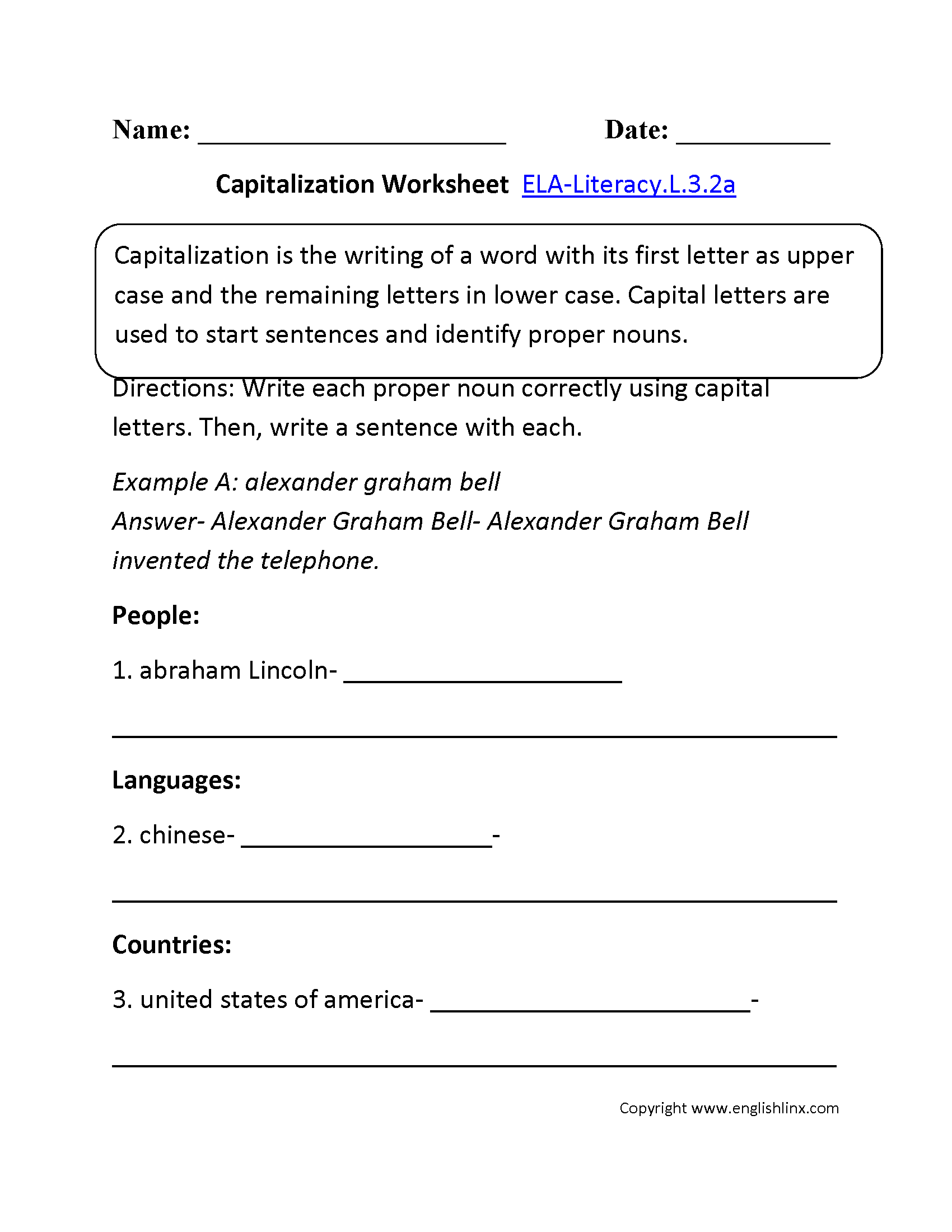 Capitalization Worksheet 1 ELA-Literacy.L.3.2a Language Worksheet