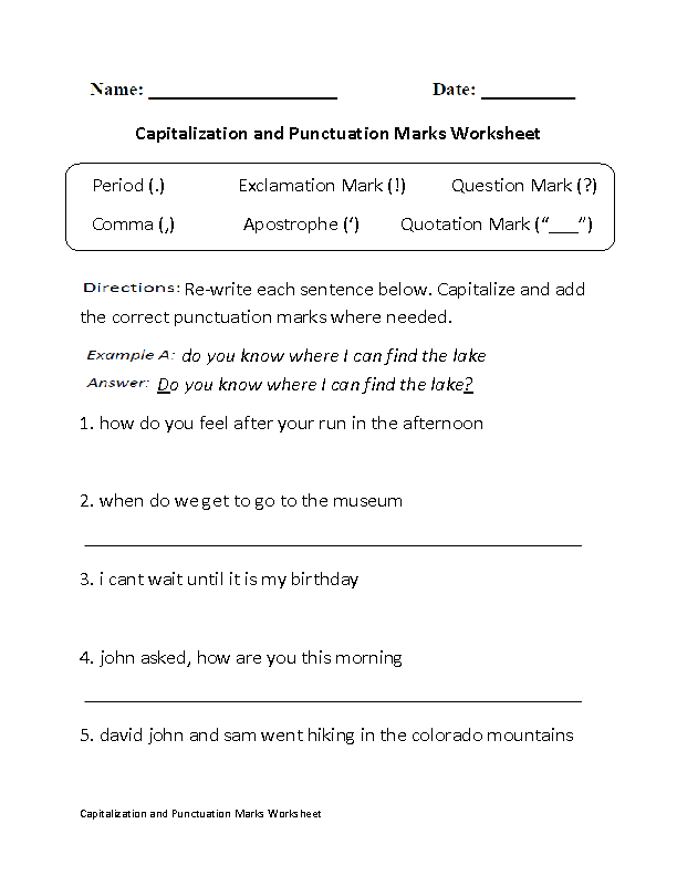 Printables Punctuation Practice Worksheets englishlinx com punctuation worksheets capitalization marks worksheet