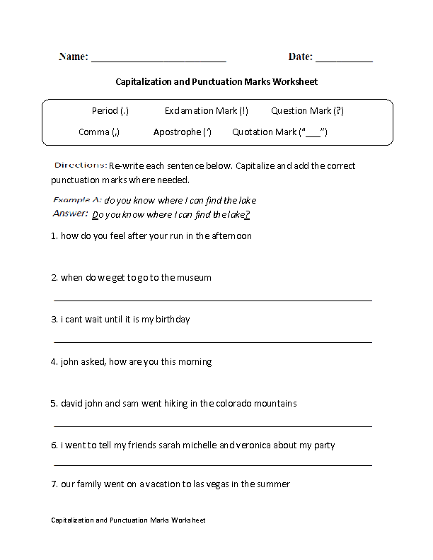 Punctuation Worksheets Capitalizaton