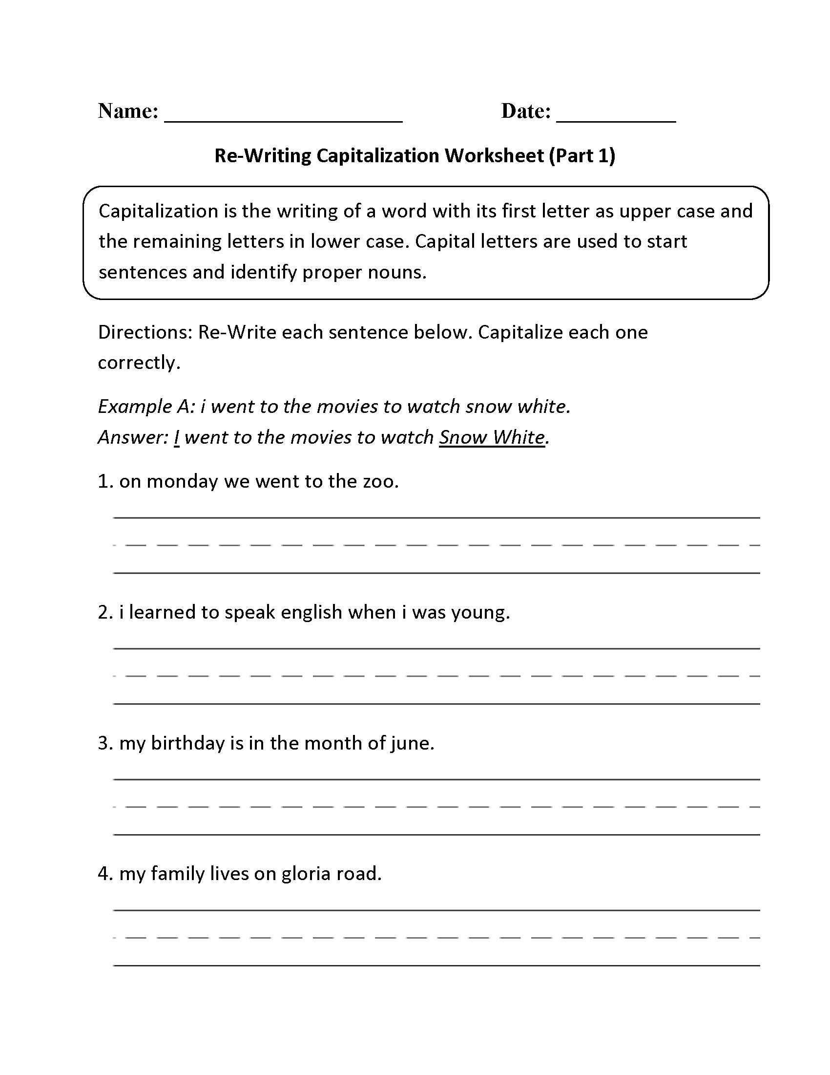 worksheet Capitalization Worksheets 4th Grade englishlinx com capitalization worksheets re writing worksheet part 1