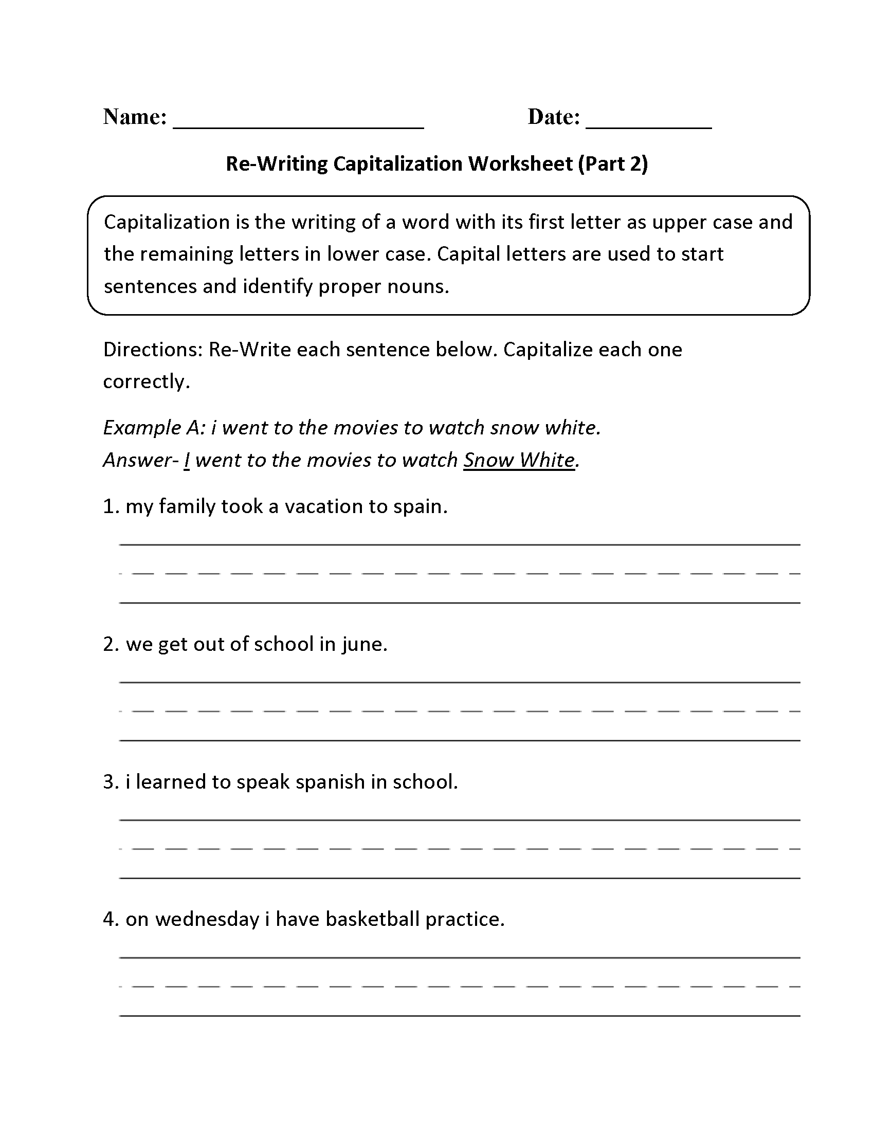 worksheet Beginner Spanish Worksheets englishlinx com capitalization worksheets worksheet part 2