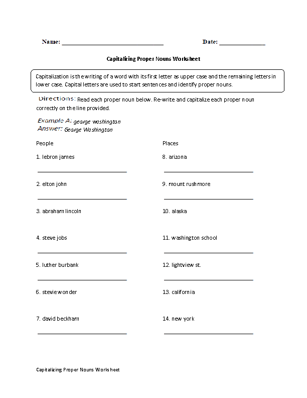 Capitalizing Proper Nouns Worksheet