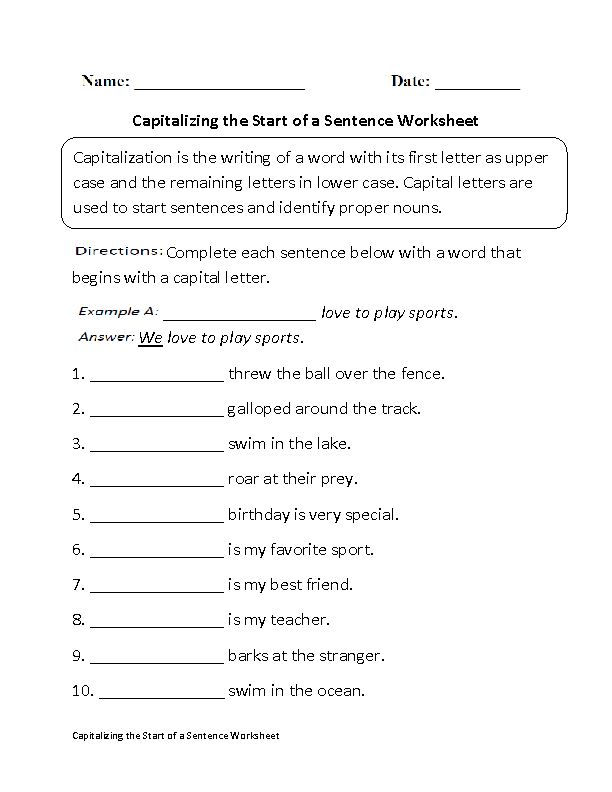 Printables Capitalization Practice Worksheets englishlinx com capitalization worksheets capitalizing start of sentence worksheet