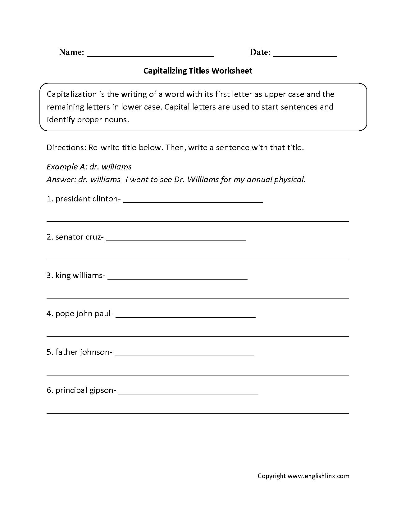 Englishlinx.com   Capitalization Worksheets