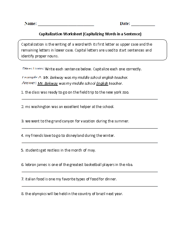 Capitalizing Words in a Sentence Worksheet