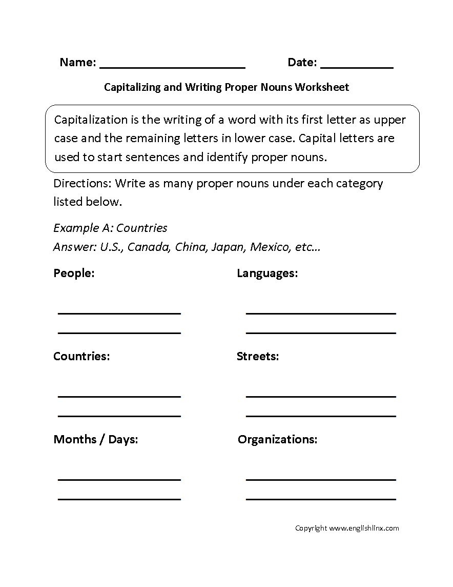 Capitalizing and Writing Proper Nouns Worksheet