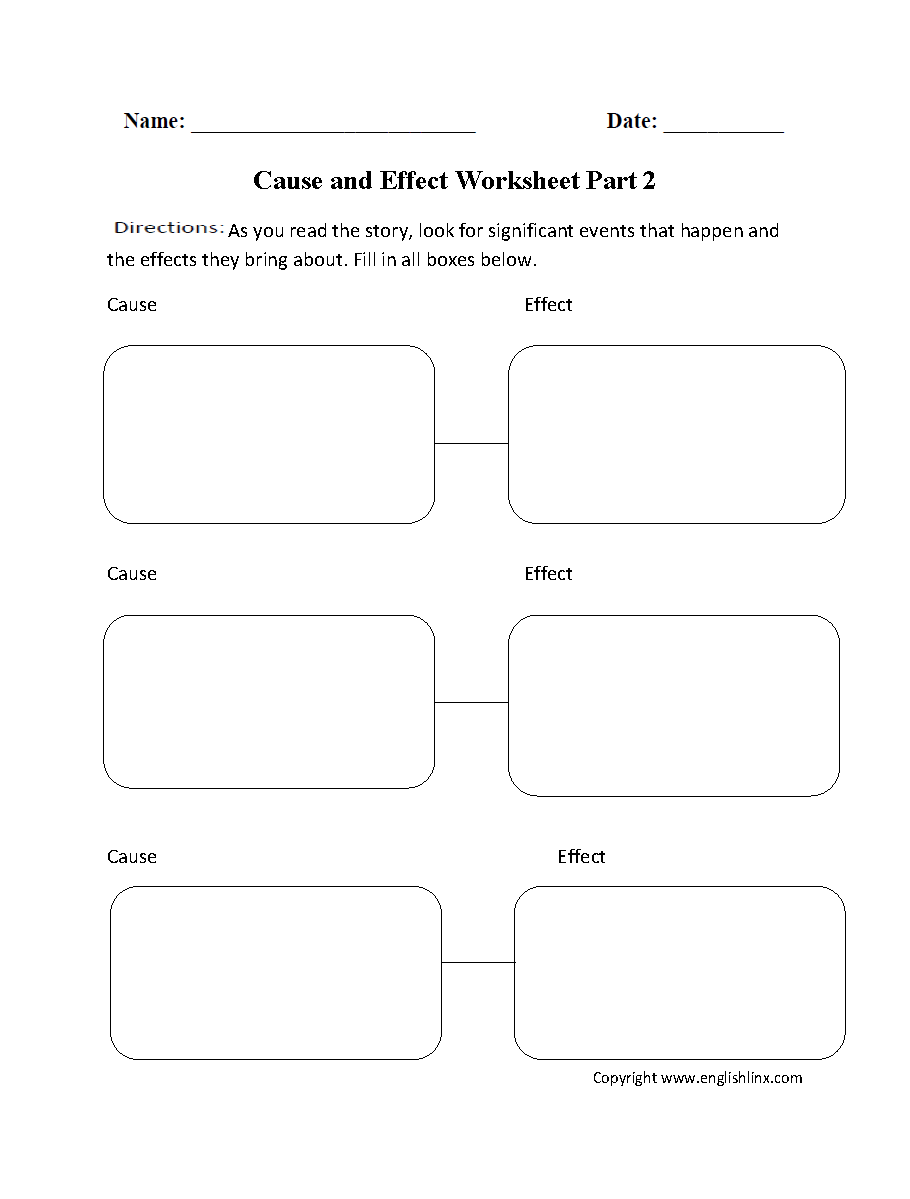 reading worksheets cause and effect worksheets cause and effect two pairs worksheet