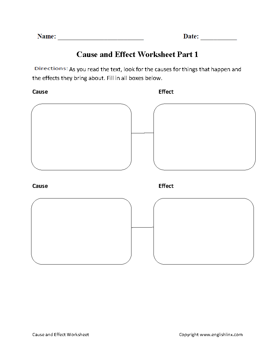 Reading Worksheets – Cause and Effect Worksheets 3rd Grade