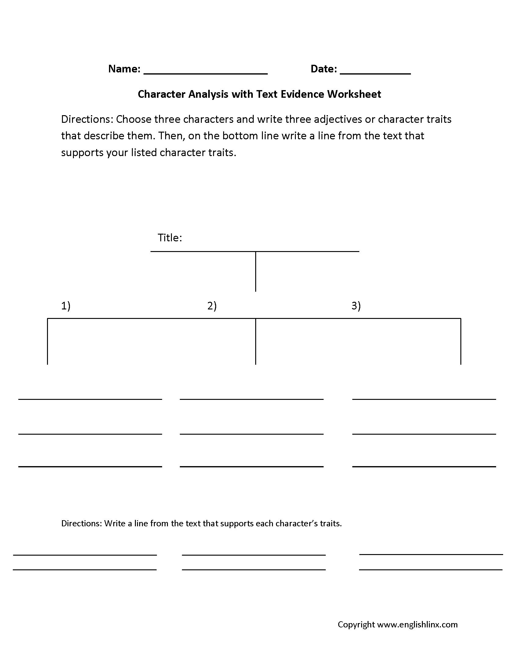 Character Analysis Text Evidence Worksheets
