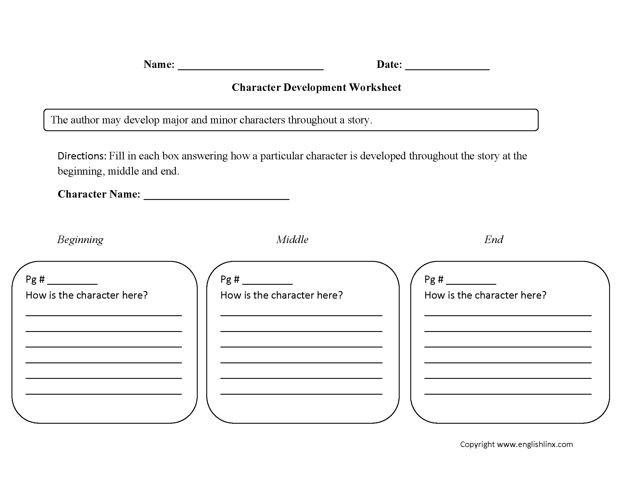Character Analysis Worksheets