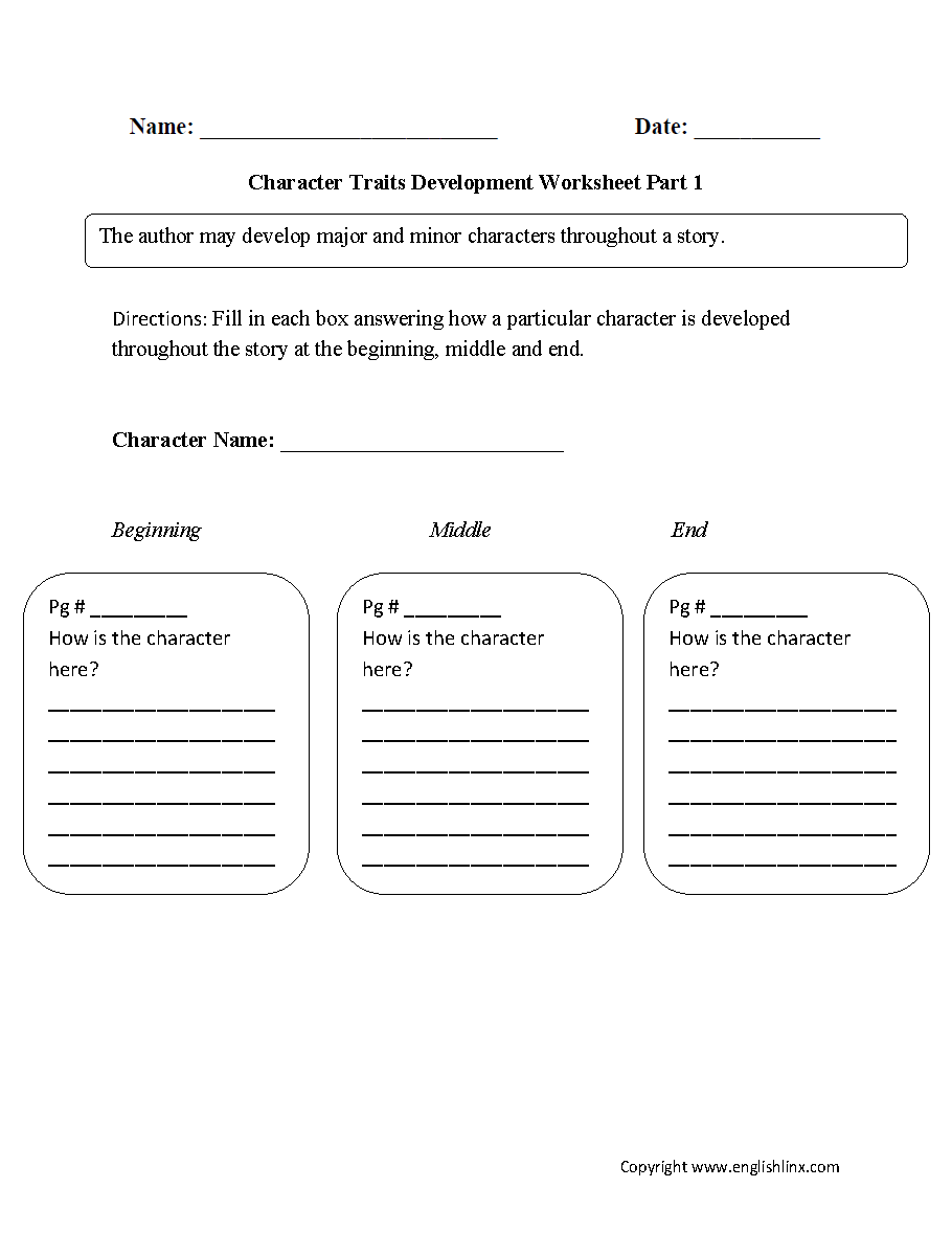 Worksheets Character Development Worksheet reading worksheets character traits worksheets