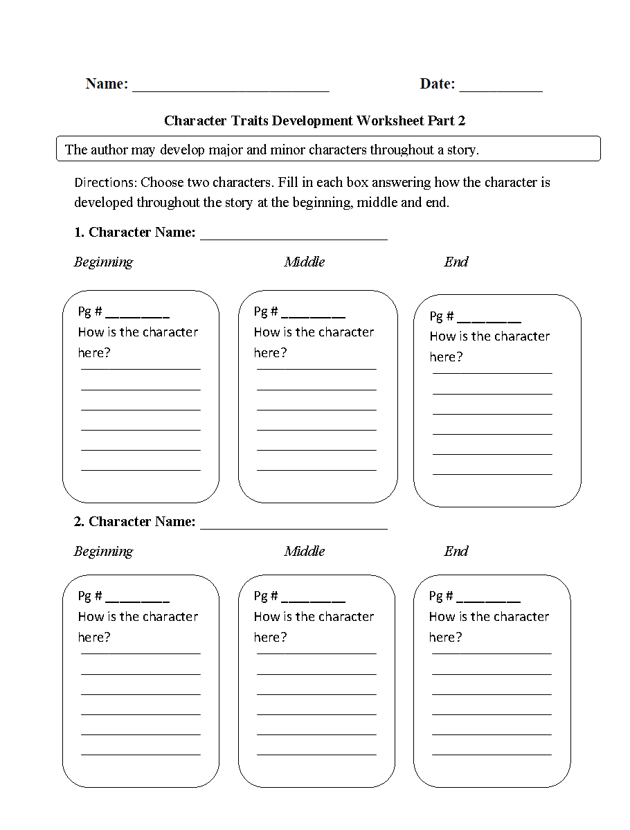 Reading Worksheets – Character Development Worksheets