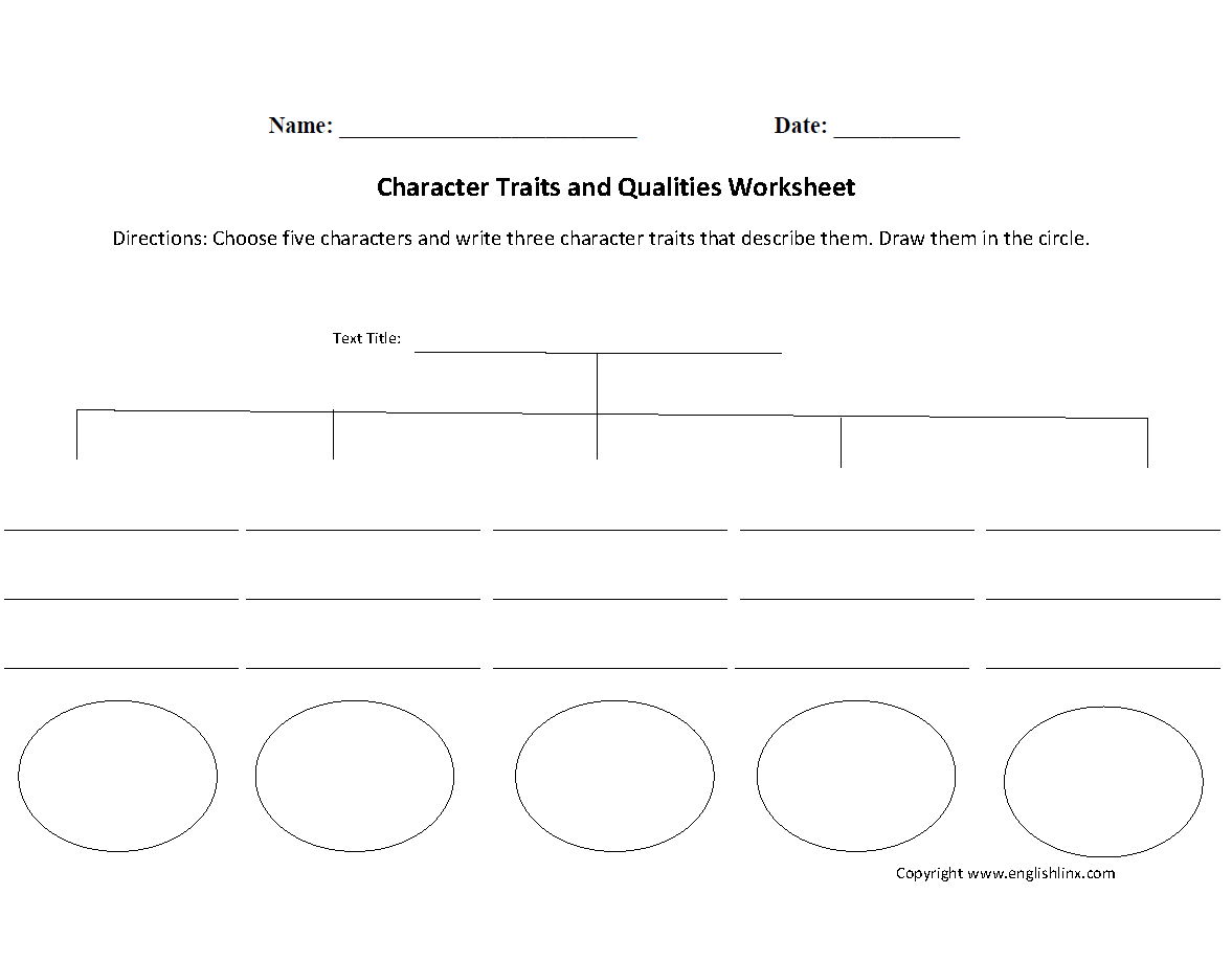 Printables Character Traits Worksheets reading worksheets character traits and qualities worksheet