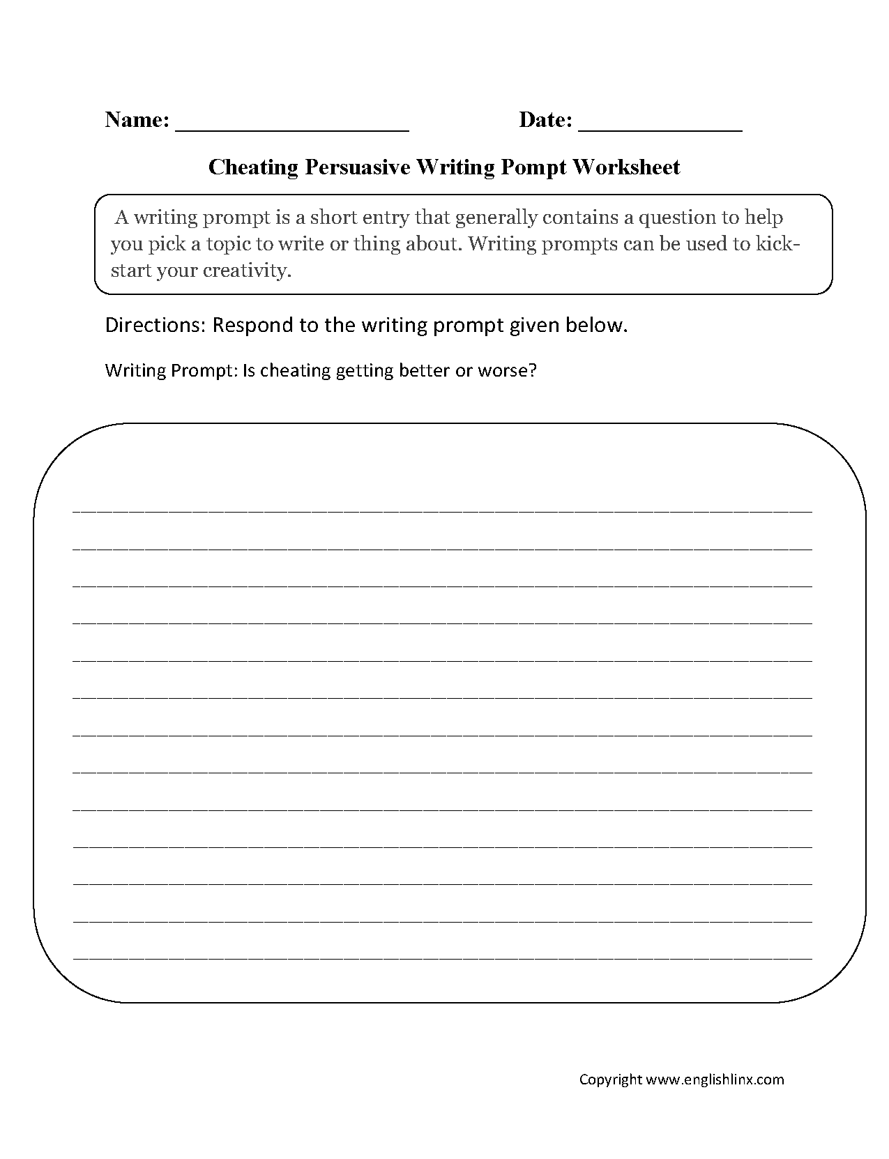 Cheating Persuasive Writing Prompt Worksheets