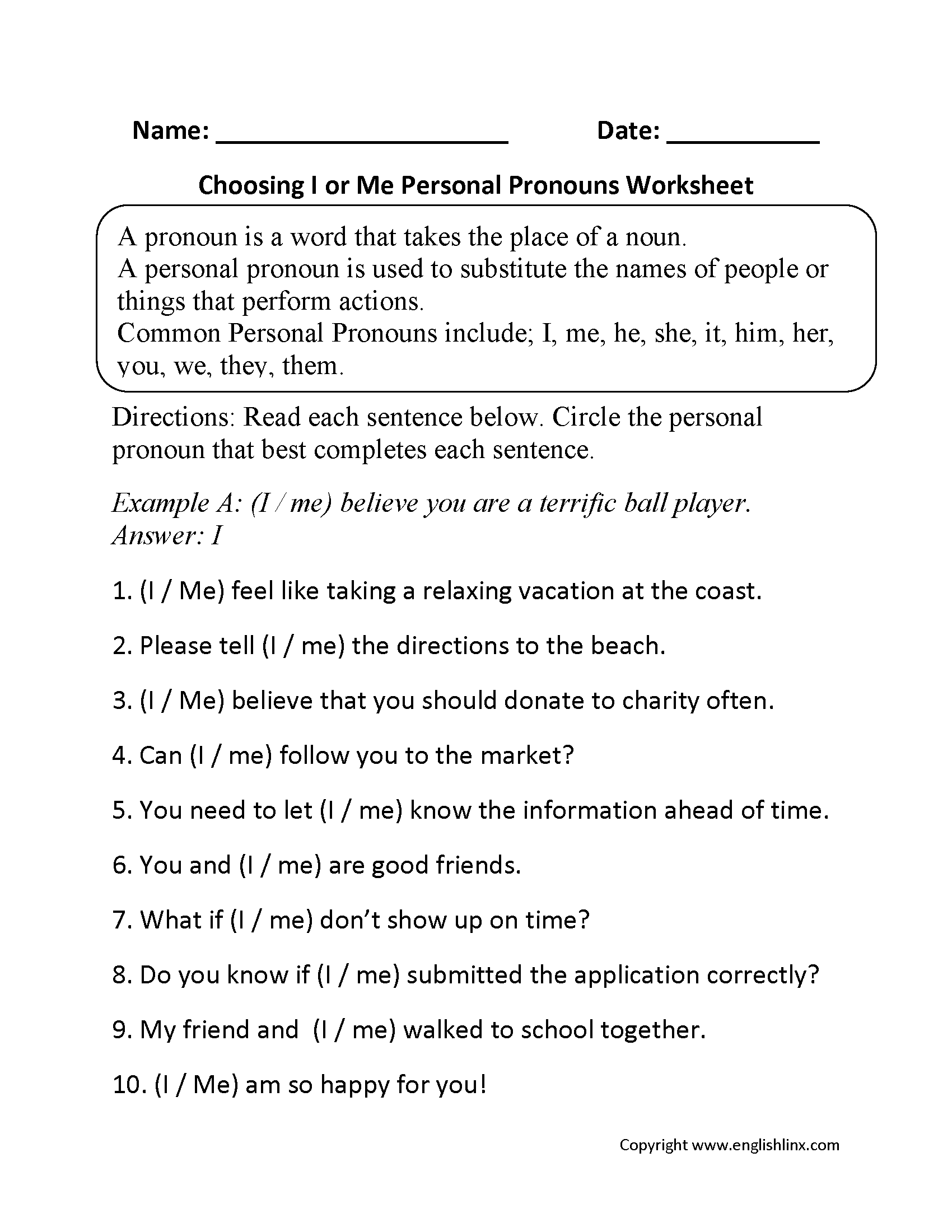Personal Pronouns Worksheets | Choosing I or Me Personal Pronouns ...