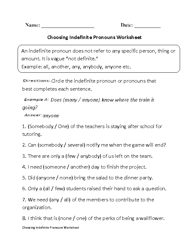 Worksheet Pronoun Worksheets High School englishlinx com pronouns worksheets indefinite worksheets