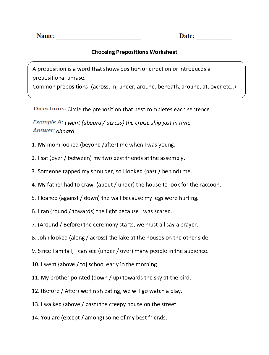 worksheet Prepositional Phrases Worksheets parts of a sentence worksheets prepositional phrase choosing prepositions worksheet