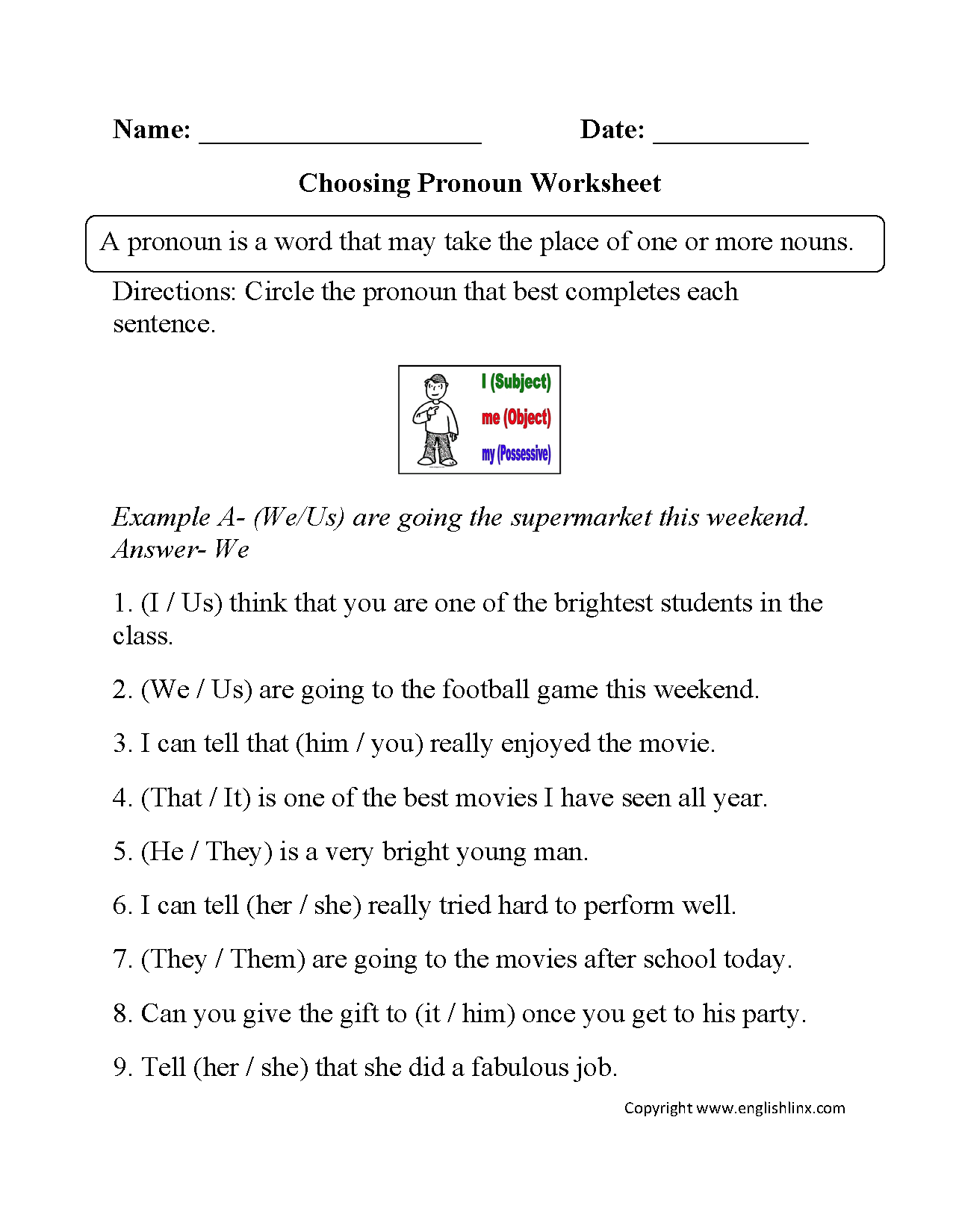 Parts Speech Worksheets – Subject Pronoun Worksheets