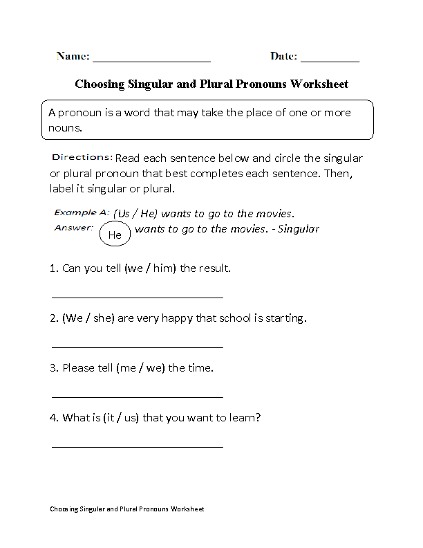 Pronouns Worksheets Singular And Plural Pronouns Worksheets