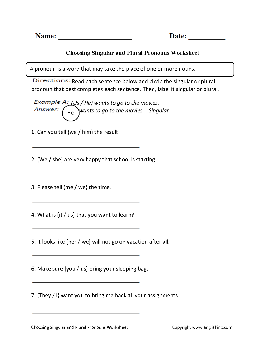 Pronouns Worksheets | Singular and Plural Pronouns Worksheets