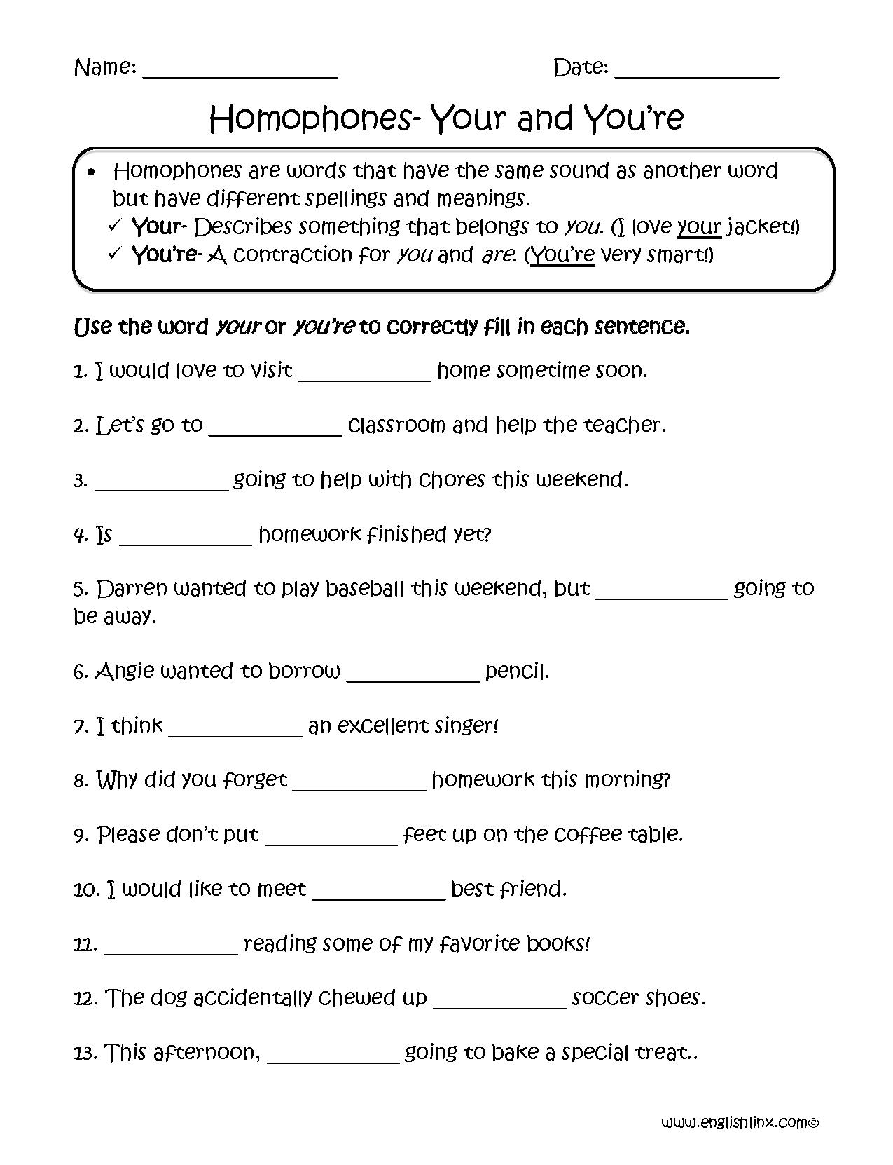 Homophone Worksheet 3rd Grade: englishlinx homophones worksheets,