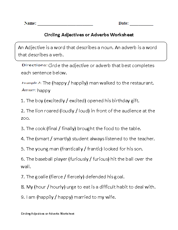 {Adjectives Worksheets – Adjective Adverb Worksheet