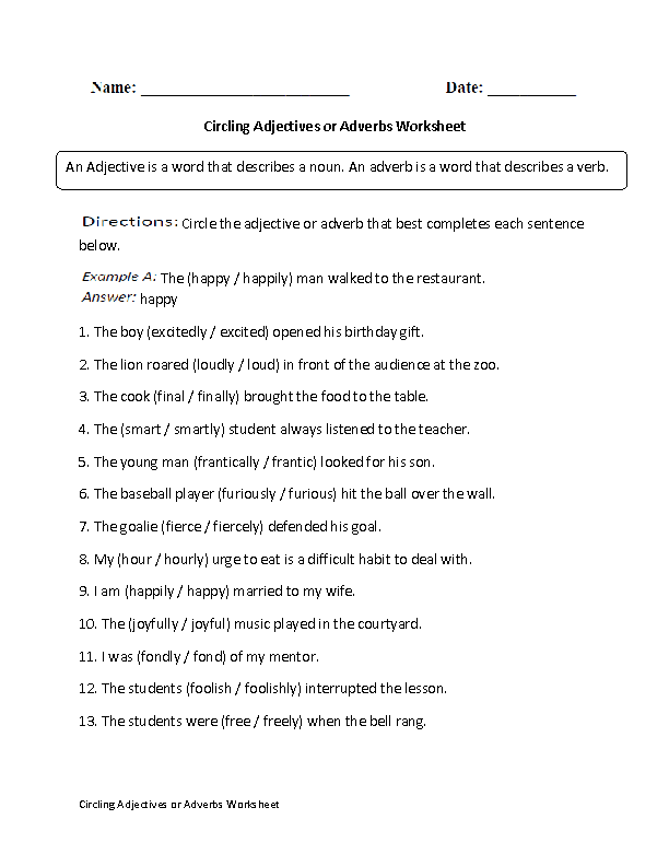 Adjectives Worksheets | Adjectives or Adverbs Worksheets