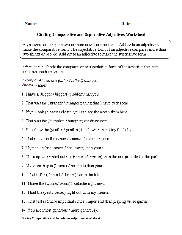 Printables Adjective Worksheet For Grade 2 adjectives worksheets comparative and superlative circling worksheet part 2